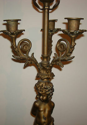 Antique Brass & Marble Table W/ Statues Candle Holder