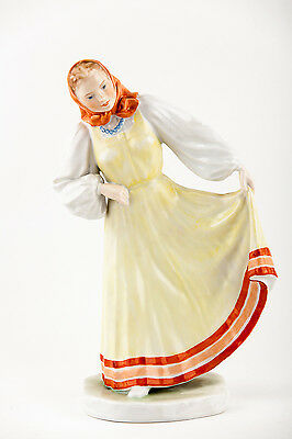 Herend Folklore Lady Yellow Dress Porcelain Hungary, Rare!
