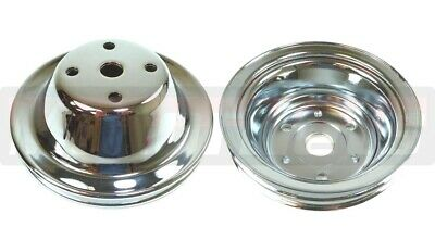 Small Block Chevy 1/2 Groove Chrome Steel Water Pump Crank Pulley Long Pump Sbc