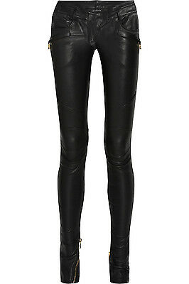 Stunning New Sold Out $5,020 Balmain Gray Leather Pants
