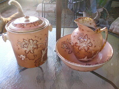 Antique 3 Pc Bath Chamber Set Basin Pitcher Commode Large Orchid England M L Co