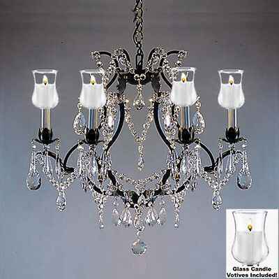 """Crystal Chandelier Lighting W/ Candle Votives H19"""" W20""""for Indoor/outdoor Use!"""