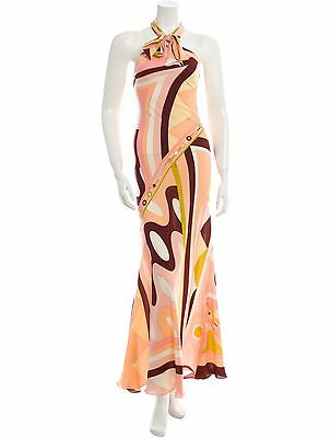 Gorgeous New $4585 Sold Out Emilio Pucci Silk Halter Dress In Abstract Print