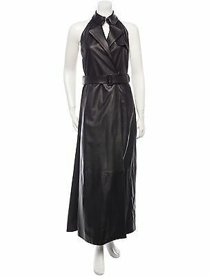 Gorgeous New $6,500 Sold Out Burberry Black Leather Halter Dress