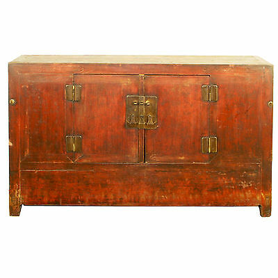 """Antique Chinese 62"""" Wide Red Painted 2 Door Coffer Cabinet Chest Cupboard Buffet"""
