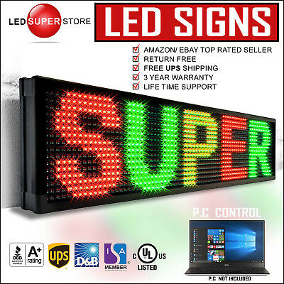 """Led Super Store: 3col/rgy/pc 21""""x69"""" Programmable Scrolling Emc Display Msg Sign"""