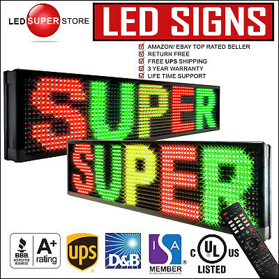 "led super store: 3c/rgy/ir/2f 12x107"" programmable scroll. message display sign"