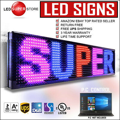 """Led Super Store: 3col/rbp/pc 19x151"""" Programmable Scrolling Emc Display Msg Sign"""