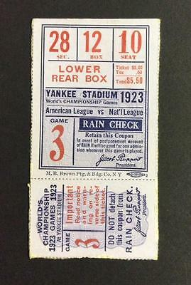 1923 Ny Yankees World Series Ticket Stub  Gm#3 @ Yankee Stadium