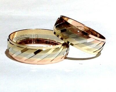 14k Tricolor Gold His And Her Wedding Band Set Size5-13free Engraving