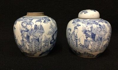 A Pair Of 19th Century Blue And White Ginger Jars