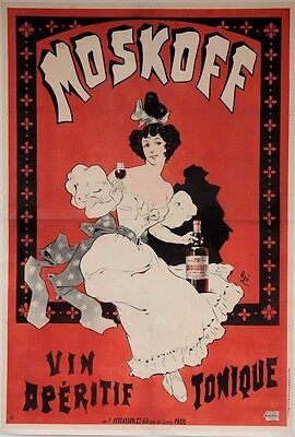 """Original French Alcohol Oversize Poster """"moskoff Vin Aperitif Tonique"""" By Oge"""