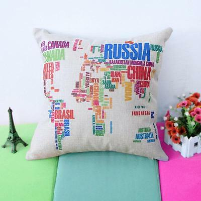 Hot World Map Cotton Linen Square Throw Pillow Case Cushion Cover Home Decor