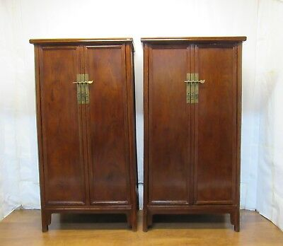 A Chinese Antique Red & Black Cabinet Closet Chest W/ Display Unit Puppet Show