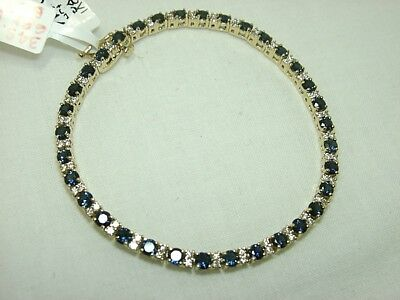 "14k yellow gold sapphire dia bracelet 7"" 7.48ct tw strong,heavy ( closed store)"