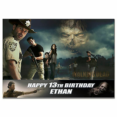 G769 Large Personalised Birthday Card Custom Made For Any Name; The Walking Dead