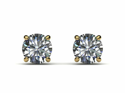 Ladies Choice 2.00 Ct Si2 D Round Diamond Earrings Screw Back 18 K Yellow Gold