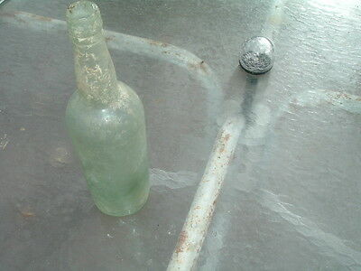 Vintage Antique Hand Blown Wine Beer Green Glass Bottle From Shipwreck