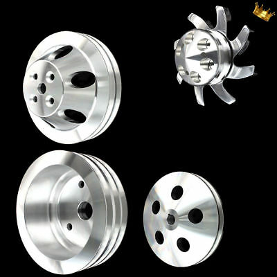 Billet Small Block 4 Pulley Set Fits Chevy 283 327 350 With Short Wp Ac And Ps