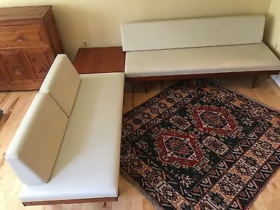 Vtg Mcm 3 Pc Swane Norway Bauhaus Exec Day Bed Sectional Sofa Couch Table Teak