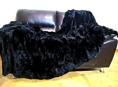 """Multipack : Luxury Real Black Rex Rabbit Throw Blanket And A Pillow 20""""x 20"""""""