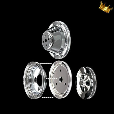 Chrome Small Block 4 Pulley Set Fits Chevy 327 350 383 400 For Short Water Pump