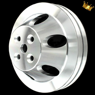 Billet Small Block Chevy 2 Groove Short Wp Pulley Fits Chevy 283 327 350 383 400