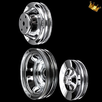 Chrome 3 Pulley Set Fits Small Block Chevy With Long Water Pump 327 350 383 400