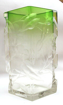 Antique Moser Intaglio Glass Green To Clear Vase With Flowers Carved Signed 1905