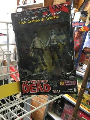 The Walking Dead Bloody B&w Rick Grimes & Andrea 2-pack Px Previews Ex