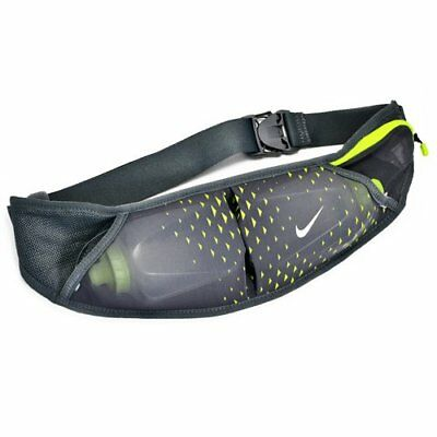 Nike Double Flask Running Belt With Two Water Bottle, Black X Green
