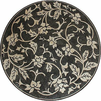 "Large Black And Cream Floral Motif Natural Stone 90"" Round Marble Mosaic Md1981"