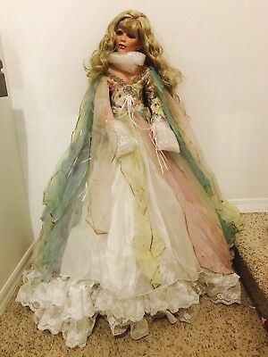 """***rare*** Rustie 42"""" Porcelain Doll /400 Collector Blonde Hair Spring Dress"""