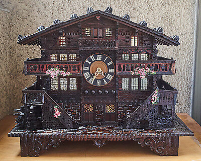 Antique Large Swiss Chalet Clock And Music Box C.1880 Good Working Order!