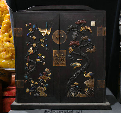 "22""china Rosewood Inlay Shell Jade Dynasty Portable Flower Birds Drawer Food Box"