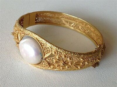 Antique Gilt Silver Chinese Europe 19th Bracelet Huge Pearl (m1035)