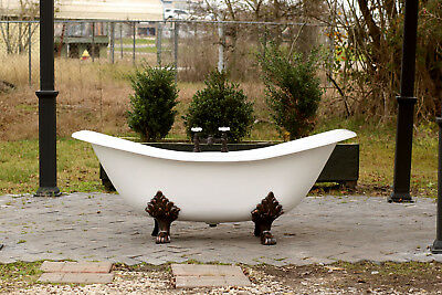 "White Antique Inspired 72"" Cast Iron Porcelain Clawfoot Bathtub 6' Slipper"