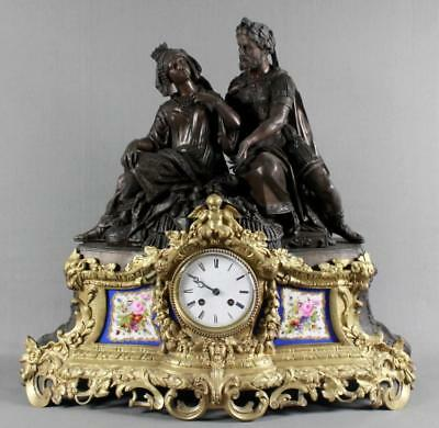 Stunning 19th Cent French Bronze Sevres Porcelain Clock Lot 299g
