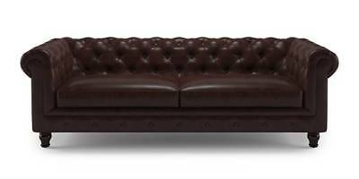"""60"""" W Modern Mid-century Dark Brown Tufted Faux Leather Two Seater Sofa Couch"""