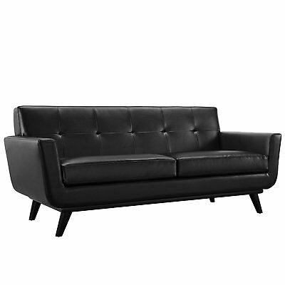 """60"""" W Modern Black Tufted Faux Leather Two Seater Sofa Couch For Office"""