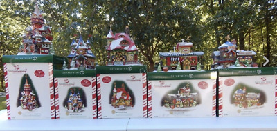 Dept 56 North Pole Series S-a-n-t-a C-l-a-u-s 15th Anniversary New 10 Buildings