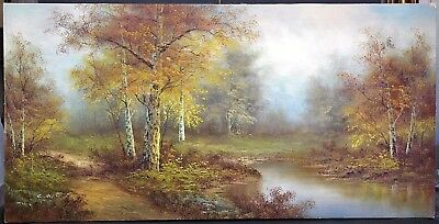 """Huge Vtg Signed C Inness Very Collectible Landscape Oil Painting On Canvas 48"""""""