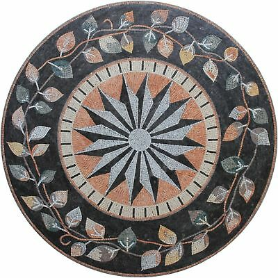"""handmade floral band frame compass 70"""" marble mosaic md1995"""