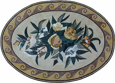 """Centerpiece Wave Framed Rose 89""""x64"""" Oval Marble Mosaic Cr795"""