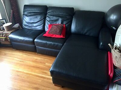 Sofa Couch Sectional Living Room Furniture Upholstered Black Leather Wood Ikea