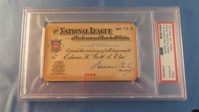 1963 stan musial last gm/hit/rbi ticket pass psa tops babe ruth record/cardinals