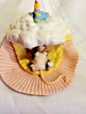 Charming Tails Happy Birthday Mouse In Cupcake W/candle~no. 97/715~hand Crafted