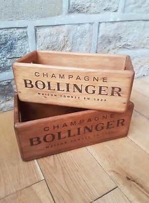 2 X Bollinger Champagne Vintage Style Crates Wood Storage Box Her Box Planter