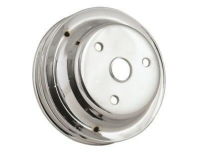 4977 Chrome Plated Steel Crankshaft Pulley; Double Groove; Long Water Pump;
