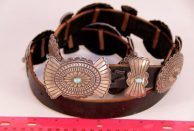Navajo Turquoise Concha Belt Lucille Calladitto 7 Conchas / 8butterflies 14.2oz